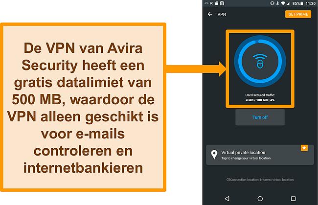 Screenshot van Avira Security's gratis Android VPN verbonden