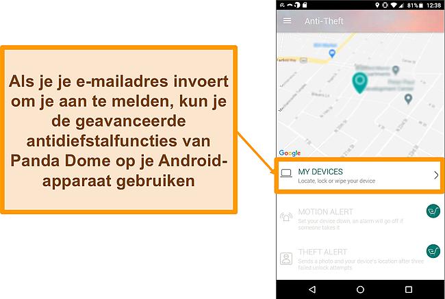 Screenshot van het antidiefstalsysteem van Panda Dome op een mobiel Android-apparaat