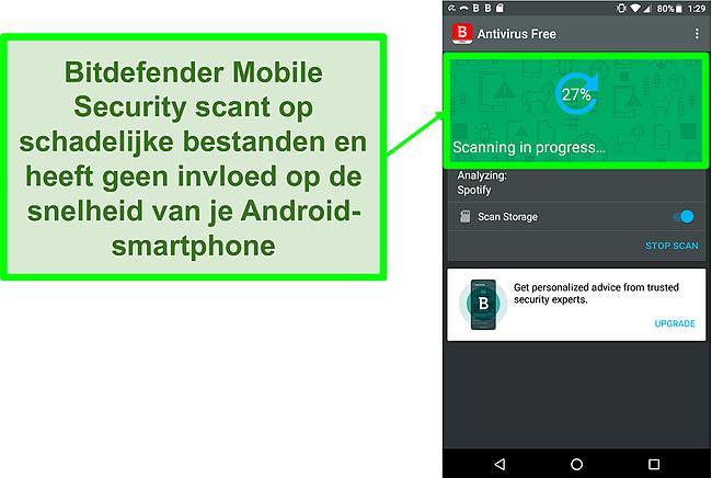 Screenshot van de gratis versie van Bitdefender Mobile Security die een mobiel Android-apparaat scant