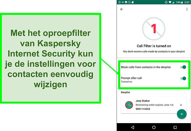 Screenshot van de oproepfilterfunctie van Kaspersky Internet Security op een mobiel Android-apparaat
