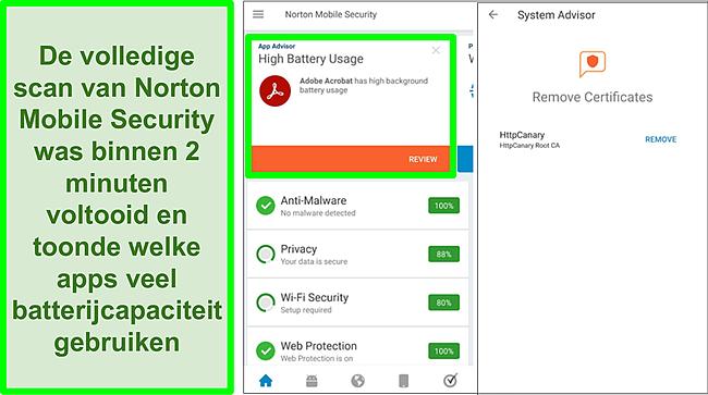 Screenshot van een scan op Android met Norton Mobile Security