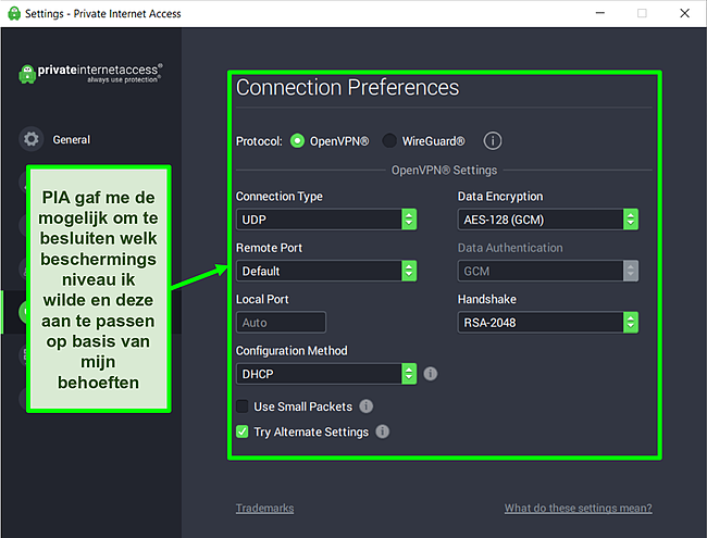Screenshot van de beschikbare beveiligingsinstellingen van PIA