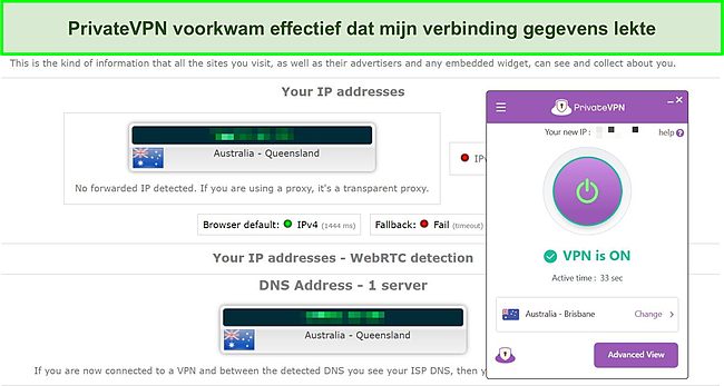 Screenshot van een DNS-lektest op PrivateVPN-server