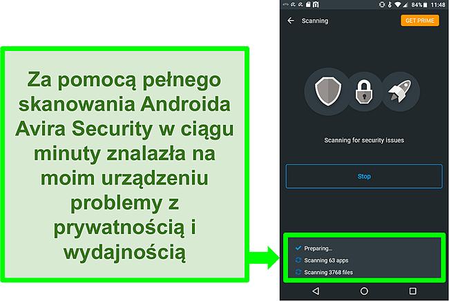 Zrzut ekranu ze skanowania postępów przy użyciu Avira Security za darmo na Androida