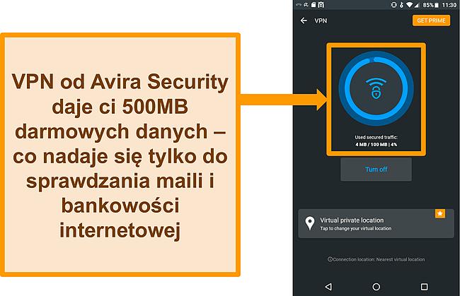 Zrzut ekranu połączenia darmowej sieci VPN Avira Security na Androida