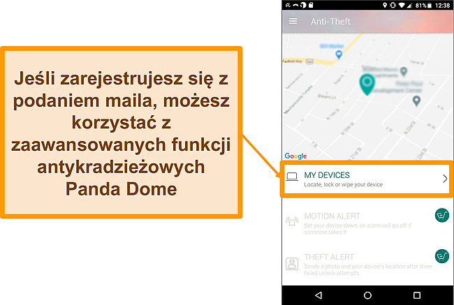 Zrzut ekranu systemu antykradzieżowego Panda Dome na urządzeniu mobilnym z systemem Android