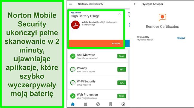 Zrzut ekranu ze skanowania w systemie Android przy użyciu programu Norton Mobile Security