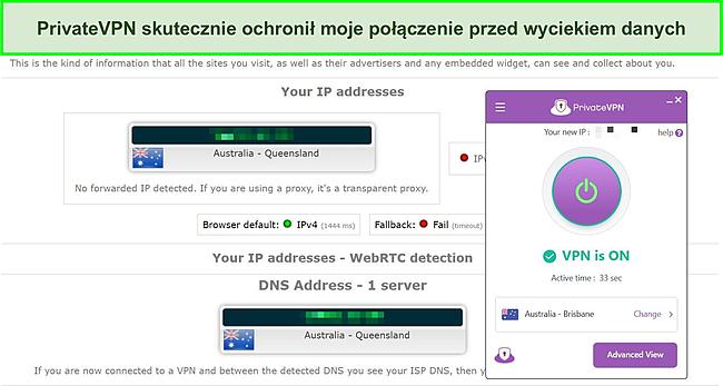 Zrzut ekranu testu szczelności DNS na serwerze PrivateVPN