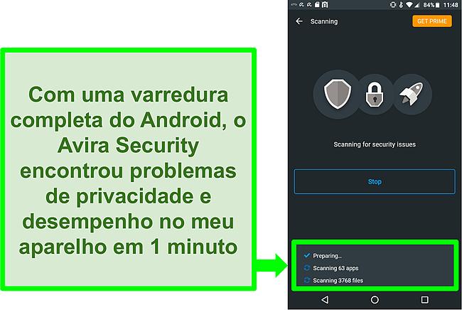 Captura de tela de uma verificação em andamento usando o Avira Security gratuitamente para Android