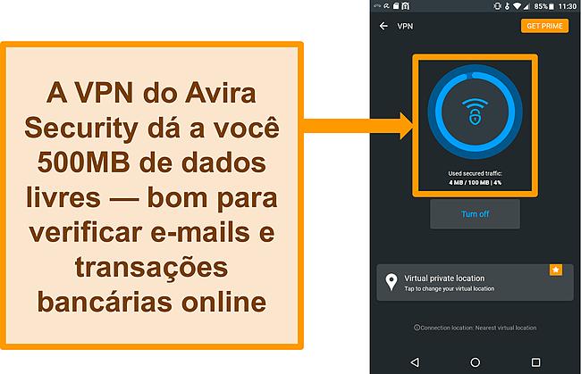 Captura de tela do VPN Android gratuito da Avira Security conectado