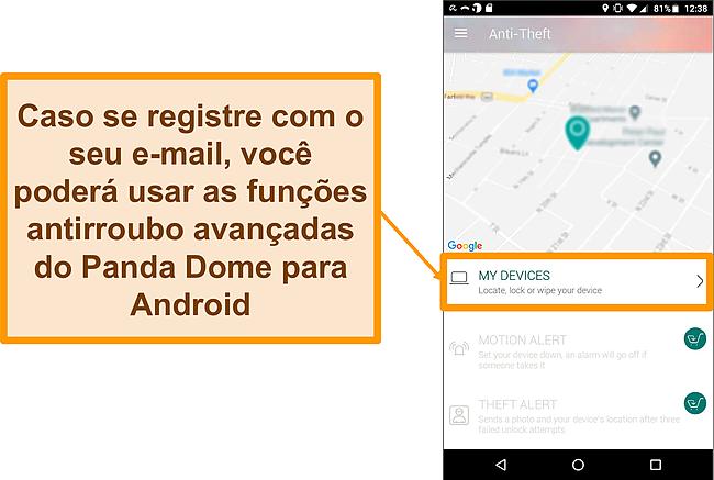 Captura de tela do sistema antifurto do Panda Dome em um dispositivo móvel Android
