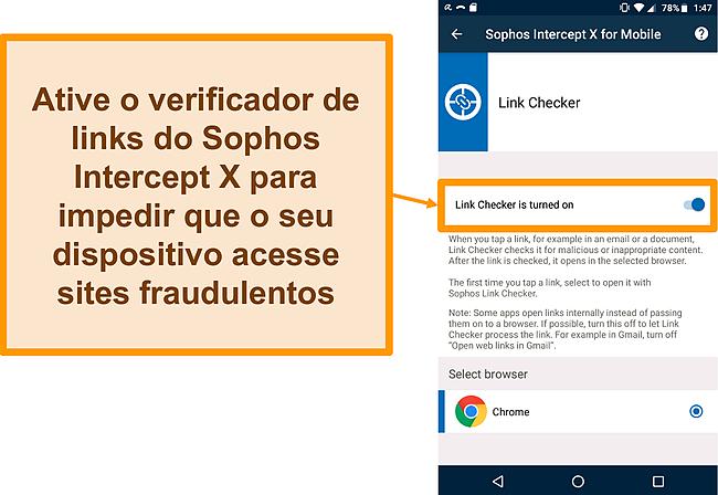 Captura de tela do Link Checker no aplicativo gratuito do Sophos Intercept X para Android