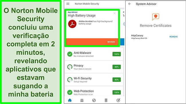 Captura de tela de uma varredura no Android usando o Norton Mobile Security