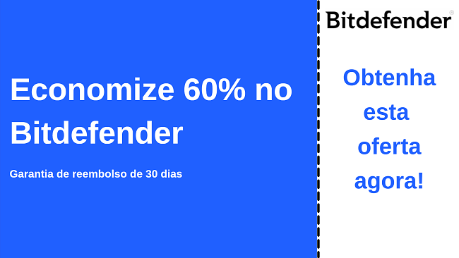 Cupom de antivírus Bitdefender para até 60% de desconto com garantia de devolução do dinheiro de 30 dias