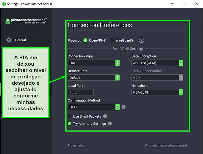 Captura de tela das configurações de segurança disponíveis da PIA