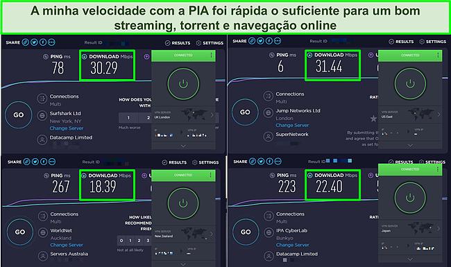 Captura de tela de 4 testes de velocidade realizados nos servidores da PIA