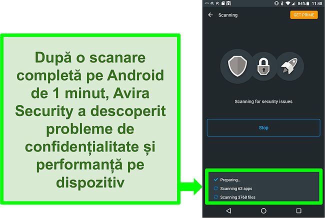 Captură de ecran a unei scanări în progres utilizând Avira Security gratuit pentru Android