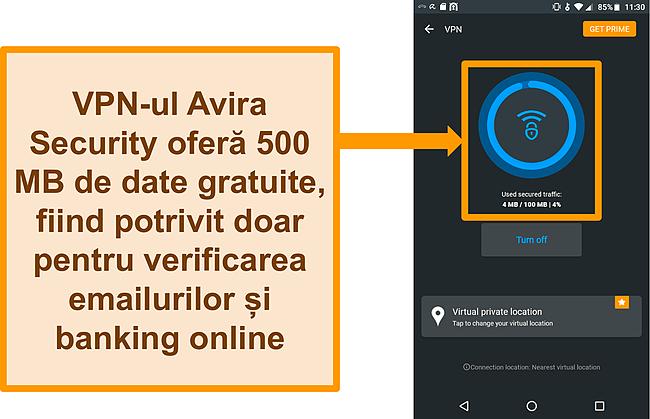 Captură de ecran a VPN-ului Android Android gratuit Avira Security conectat