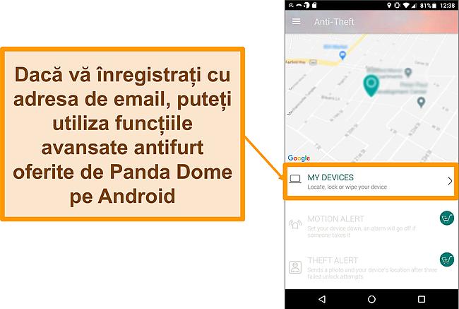 Captură de ecran a sistemului antifurt Panda Dome pe un dispozitiv mobil Android