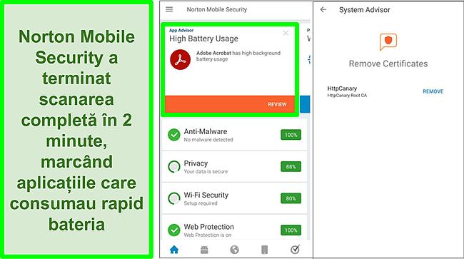Captură de ecran a scanării pe Android utilizând Norton Mobile Security