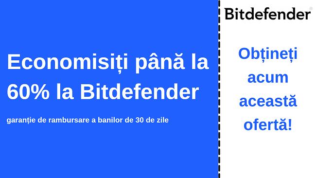 Cupon antivirus Bitdefender cu reducere de până la 60%, cu garanție de 30 de zile de returnare a banilor