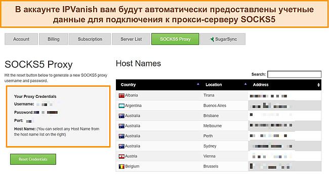 Снимок экрана с учетными данными для входа в прокси, назначенными моей учетной записи IPVanish