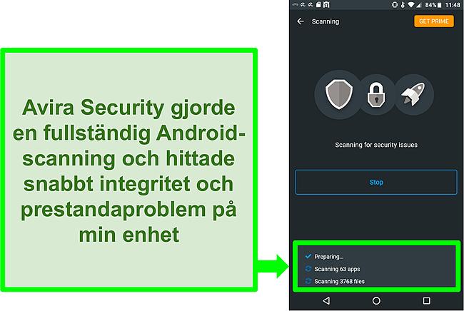 Skärmdump av en genomsökning med Avira Security gratis för Android