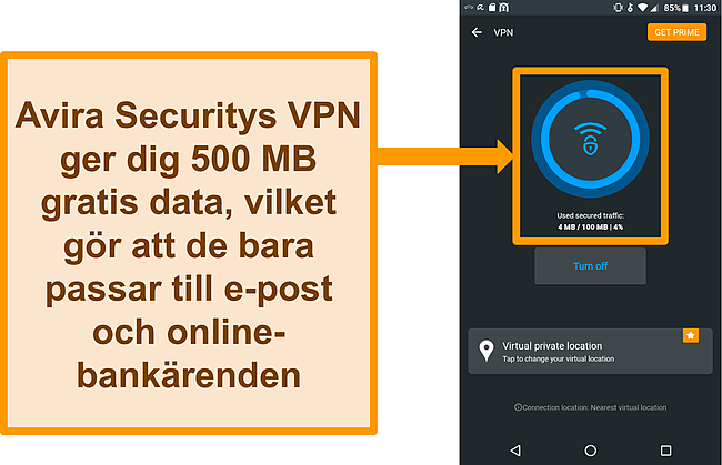 Skärmdump av Avira Securitys gratis Android VPN ansluten