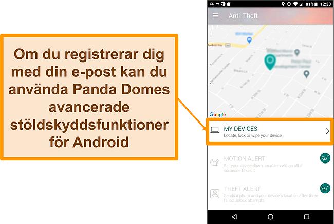 Skärmdump av Panda Dome's stöldskyddssystem på en Android-mobil enhet