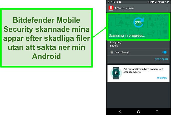 Skärmdump av Bitdefender Mobile Security gratisversion som skannar en Android-mobil enhet