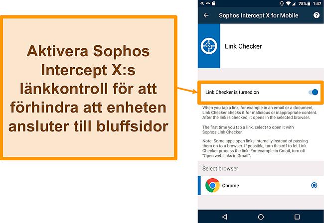 Skärmdump av Link Checker på Sophos Intercept Xs gratis Android-app
