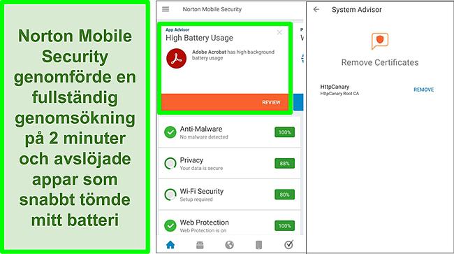 Skärmdump av en skanning på Android med Norton Mobile Security