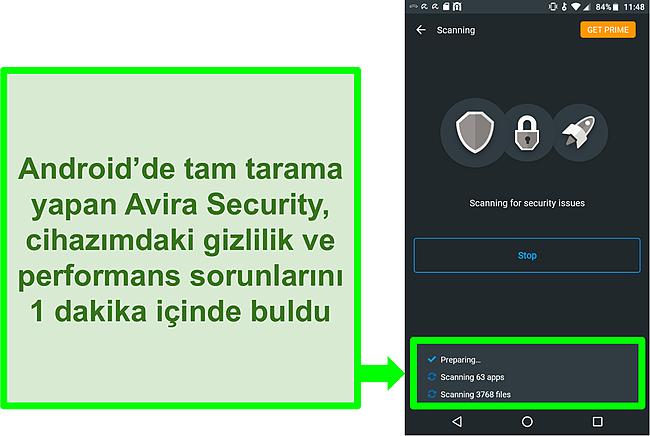 Android için ücretsiz Avira Security kullanarak ilerlemeyle ilgili bir taramanın ekran görüntüsü