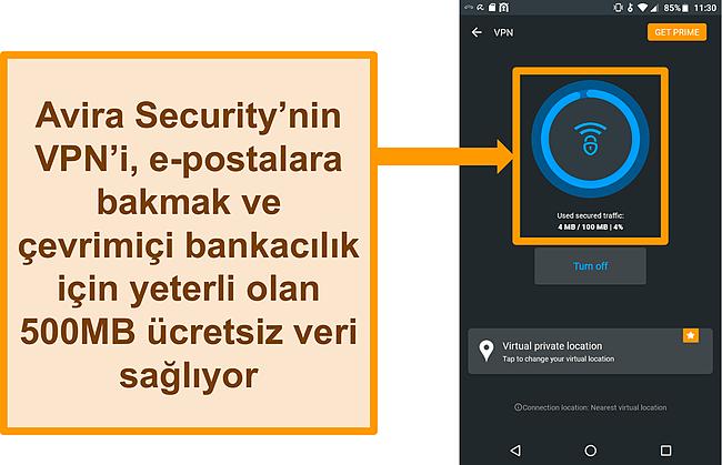 Avira Security'nin bağlı ücretsiz Android VPN'inin ekran görüntüsü