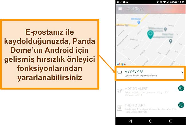 Bir Android mobil cihazda Panda Dome'un hırsızlık önleme sisteminin ekran görüntüsü