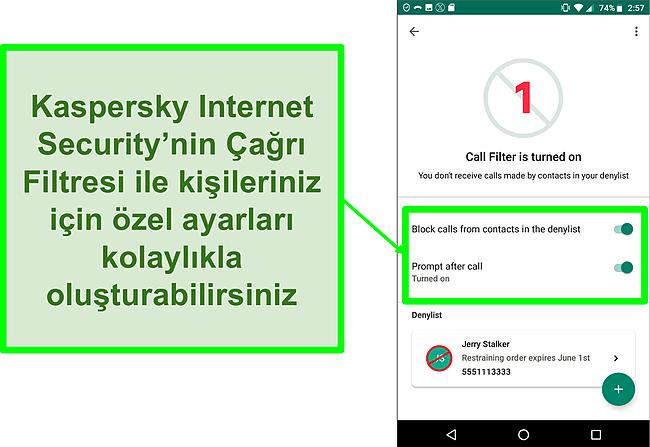 Bir Android mobil cihazda Kaspersky Internet Security'nin Çağrı Filtresi işlevinin ekran görüntüsü