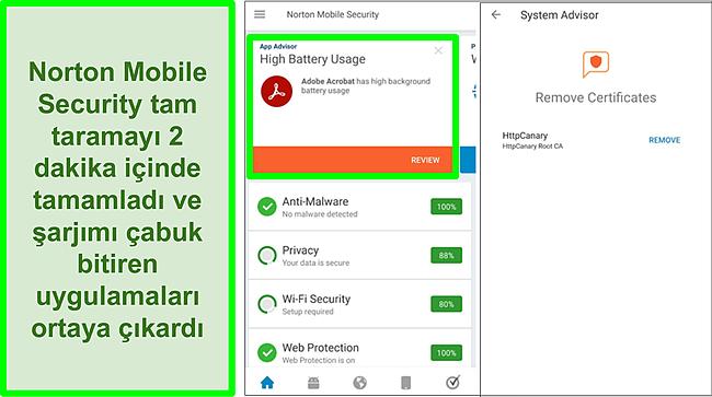 Norton Mobile Security kullanılarak Android'de yapılan bir taramanın ekran görüntüsü