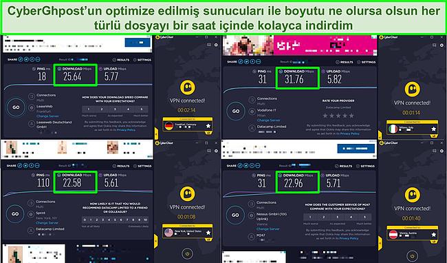 CyberGhost'un optimize edilmiş sunucularını kullanan 4 hız testinin ekran görüntüsü