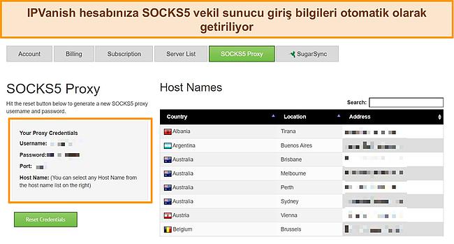 IPVanish hesabıma atanan proxy oturum açma kimlik bilgilerinin ekran görüntüsü