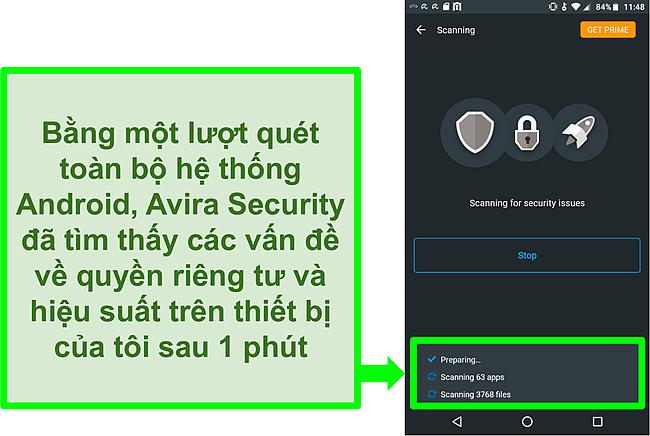 Ảnh chụp màn hình quét tiến trình sử dụng Avira Security miễn phí cho Android