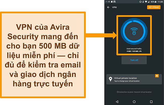 Ảnh chụp màn hình của VPN Android miễn phí được kết nối của Avira Security