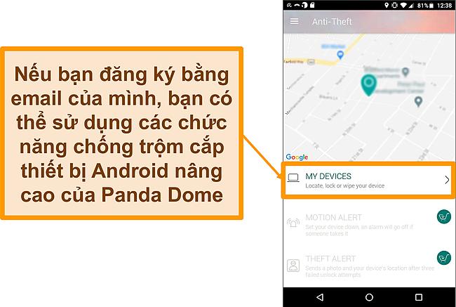 Ảnh chụp màn hình hệ thống chống trộm Panda Dome trên thiết bị di động Android