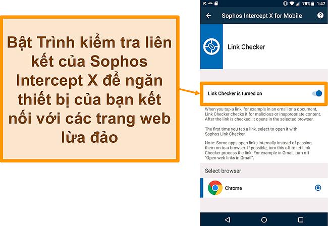 Ảnh chụp màn hình của Trình kiểm tra liên kết trên ứng dụng Android miễn phí của Sophos Intercept X