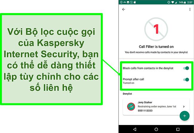 Ảnh chụp màn hình chức năng Lọc cuộc gọi của Kaspersky Internet Security trên thiết bị di động Android