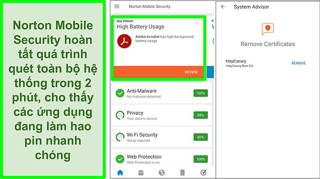 Ảnh chụp màn hình quét trên Android bằng Norton Mobile Security