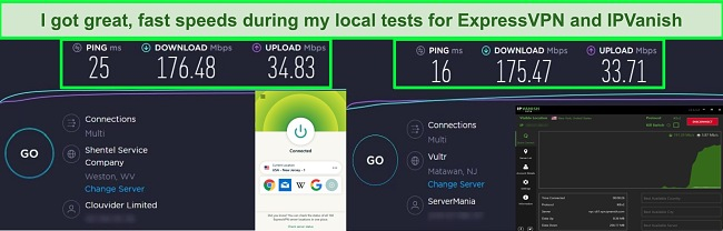 screenshots of speedtest results form ExpressVPN and IP Vanish when connected to servers in the US