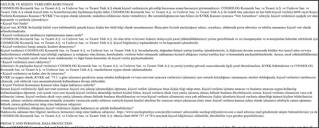 Screenshots of Unishop's privacy policy with Cosmolog listed as a co-responsible in both Turkish and English Part 1