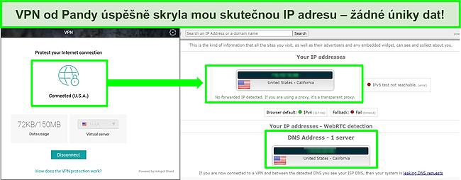 Snímek obrazovky VPN Pandy připojené k americkému serveru s výsledky testu těsnosti IP, který neukazuje žádné úniky.
