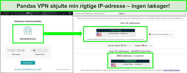 Skærmbillede af Pandas VPN tilsluttet en amerikansk server med resultaterne af en IP-lækagetest, der ikke viser lækager.