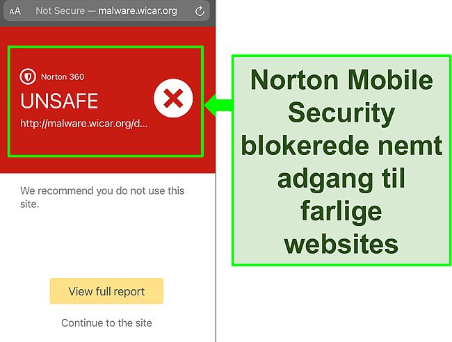 Skærmbillede af Nortons Mobile Security iOS -app, der arbejder med at blokere adgangen til et ondsindet testwebsted.